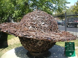 Outdoor Sculpture By James Kitchen Displayed On Museum