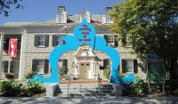 Exterior of the Dr. Seuss Musueum with blue arch