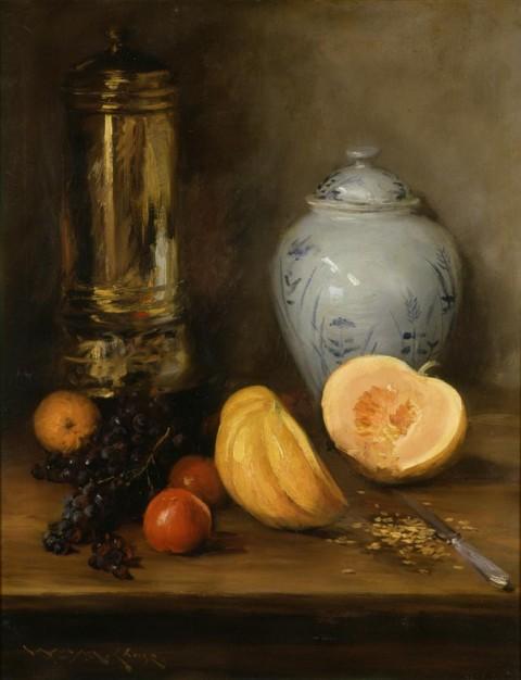 Still Life (with Ginger Jar, Pumpkin And Samovar), William Merritt Chase