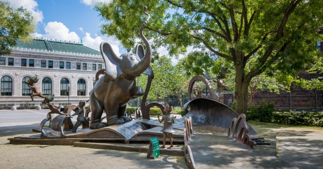 Large-scale bronze sculptures of Dr. Seuss characters, with Horton the elephant being the most prominent.