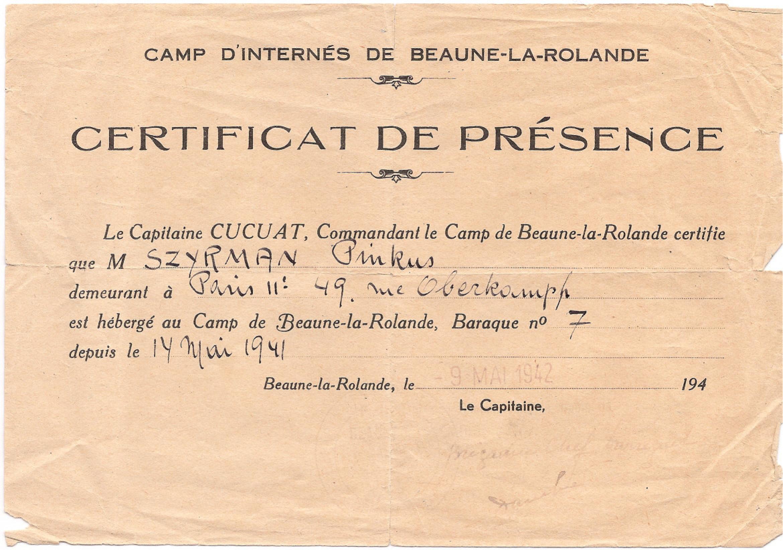 Certificat De Presence