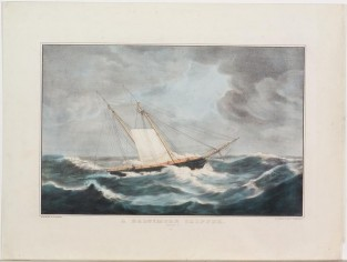 A Baltimore Clipper. Laying To., Nathaniel Currier