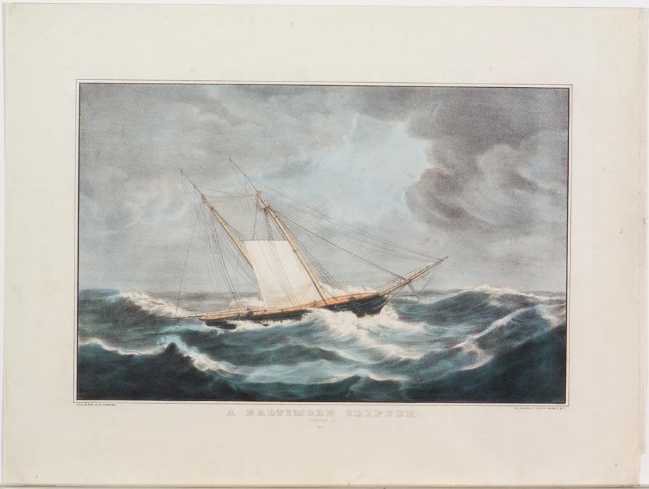 Small ship sailing to left in image in stormy seas