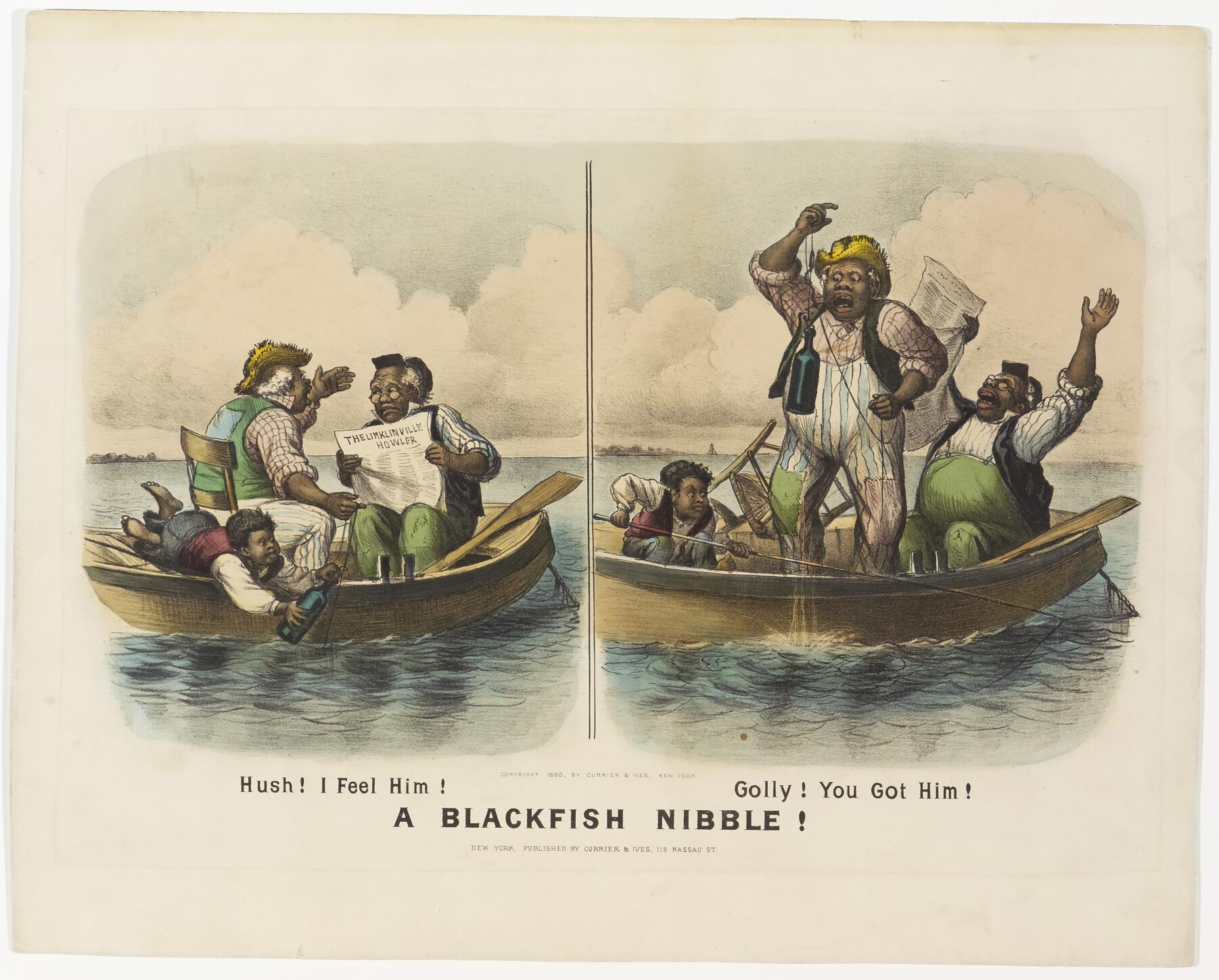 Left scene - two men and one boy in boat - one man arguing with other reading paper