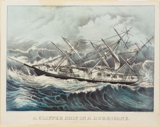 A Clipper Ship In A Hurricane, Currier & Ives