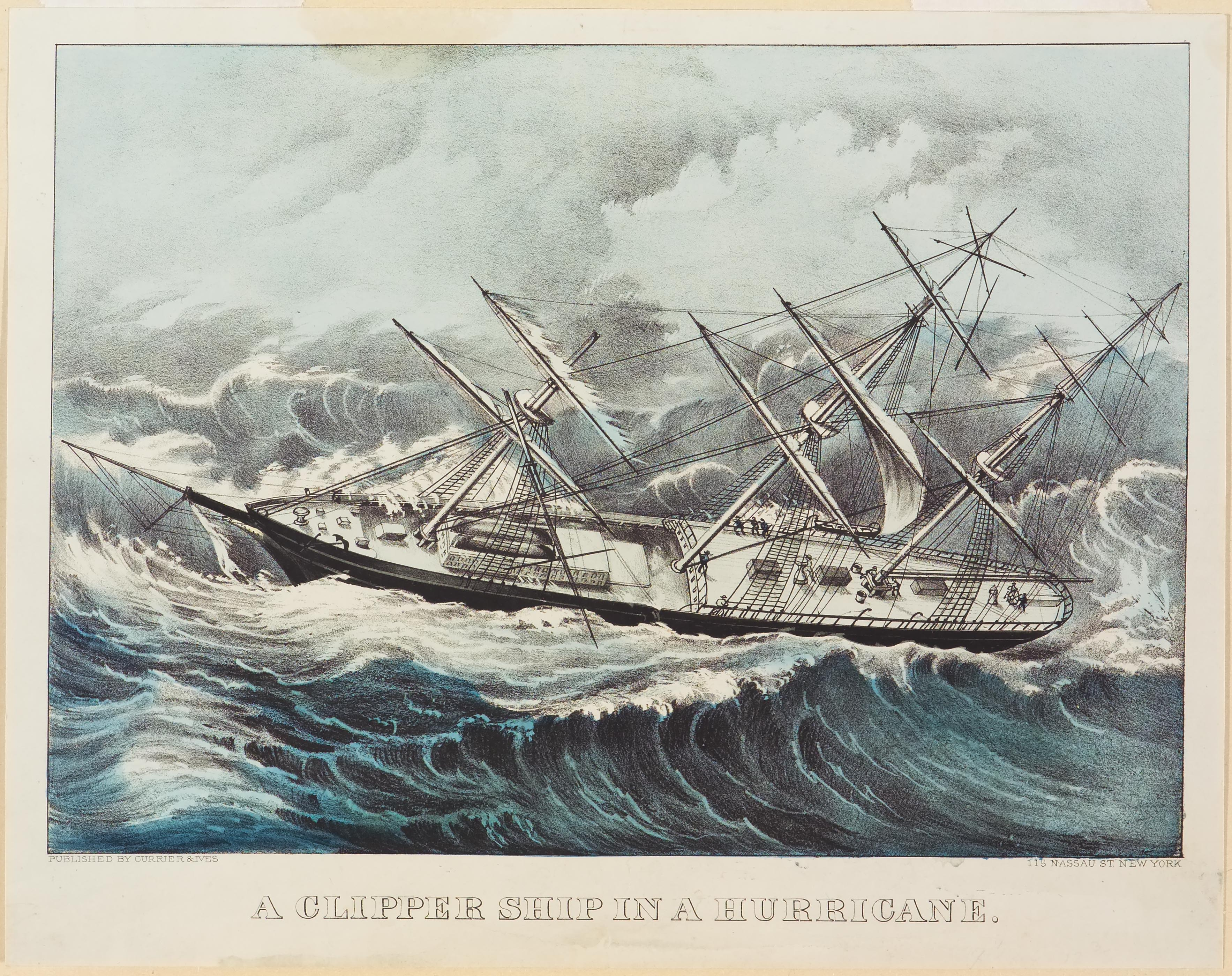 Clipper ship sailing left in image