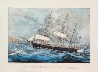 A Clipper Ship In A Snow Squall, Currier & Ives