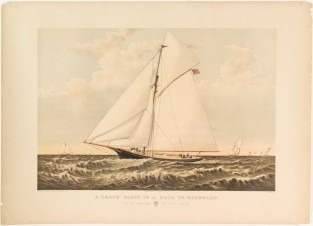 "A ""Crack"" Sloop In A Race ToWindward., Currier & Ives"