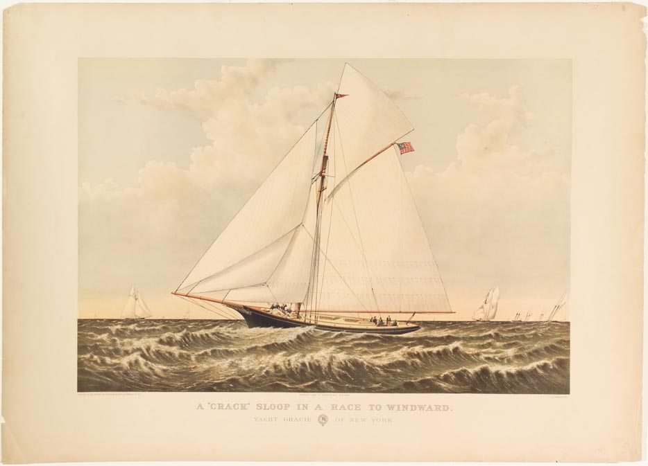 Ship with two wide sails sailing to left in image