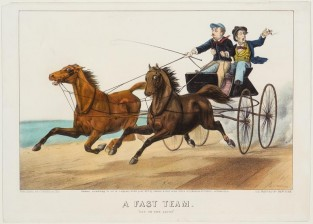 "A Fast Team. ""Out On The Loose"", Currier & Ives"