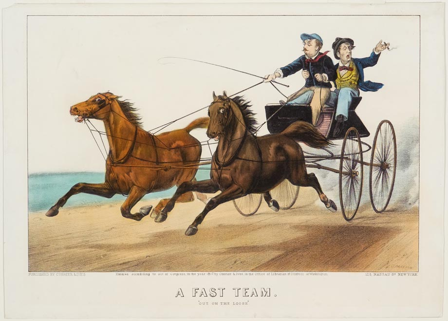 Two men in wagon being led by team of two horses
