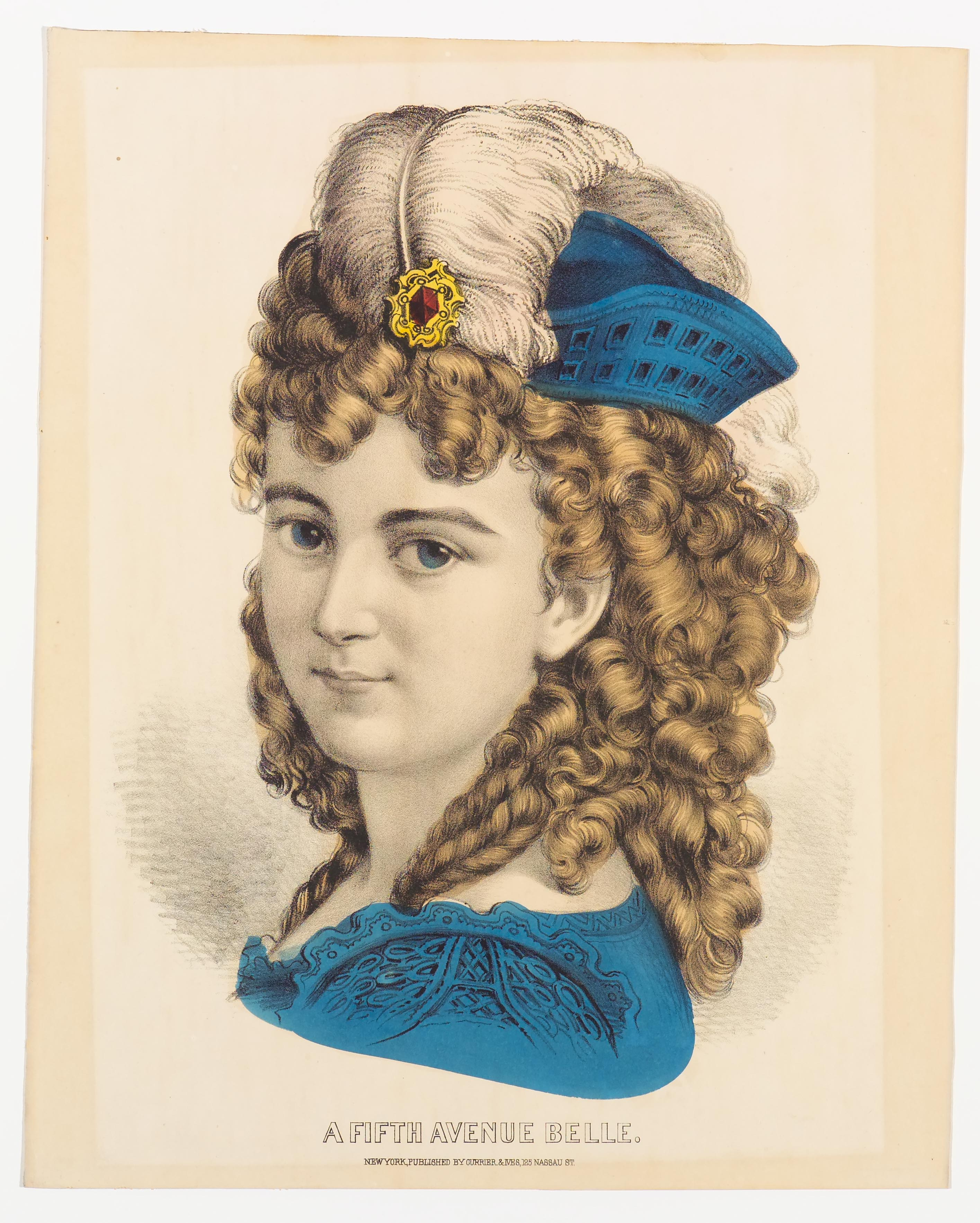 Shoulder view of woman in blue hat with white plume and blue dress