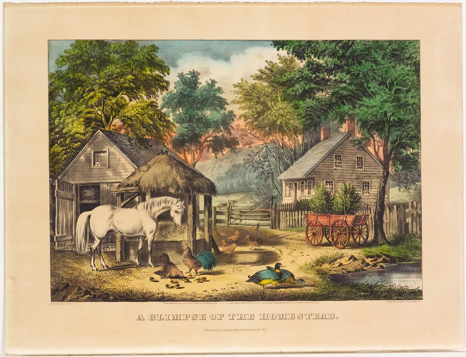 Barnyard scene - house to right behind red wagon