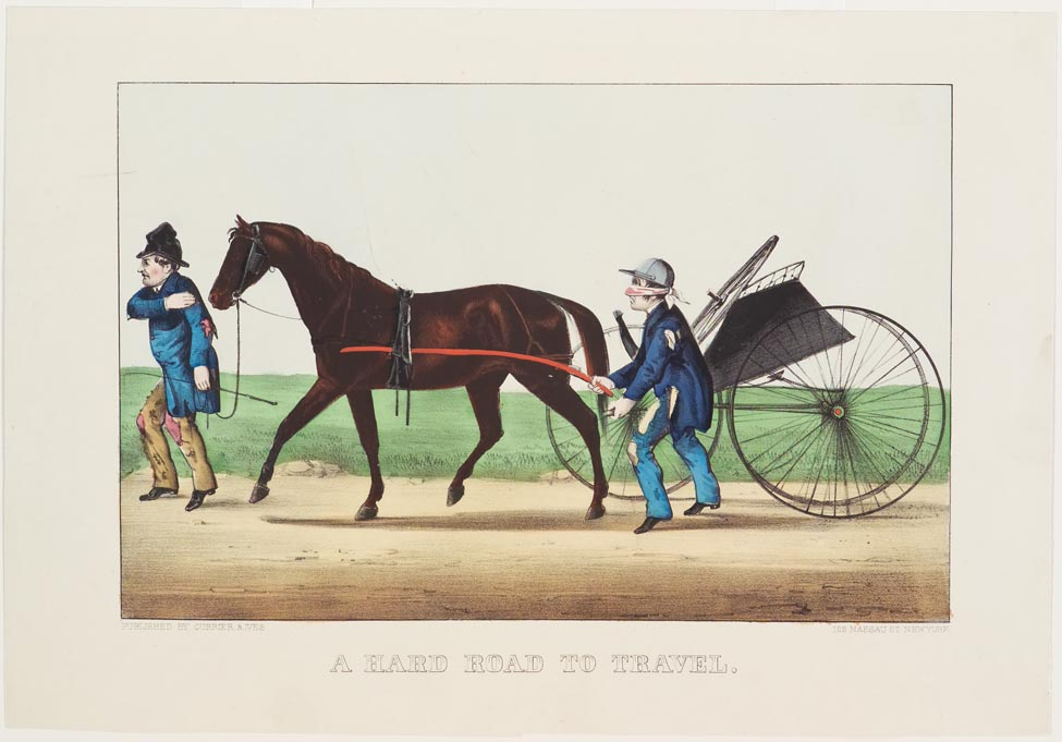 Man leading horse and buggy with broken wheels to left in image