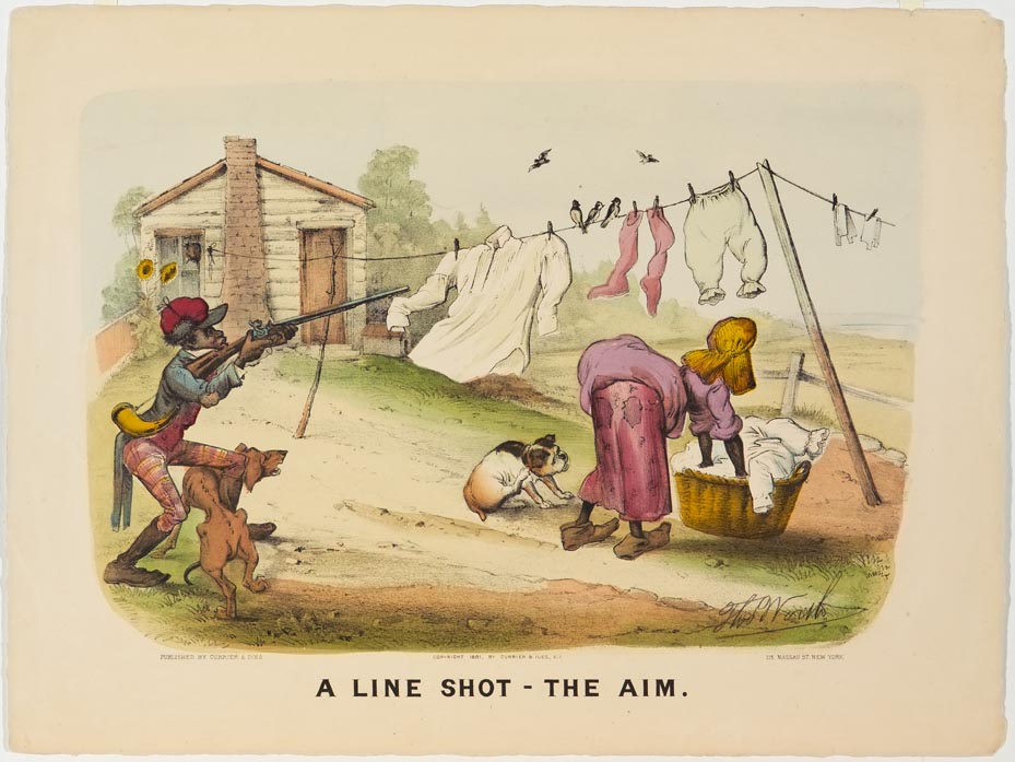 African American at left with dog twisted around legs and aiming rifle at African American woman bent over reaching into laundry basked under clothesline with dog at her feet