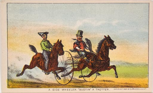 A rider atop horse at left racing a rider and a trotting horse