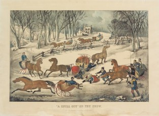A Spillout On The Snow, Currier & Ives