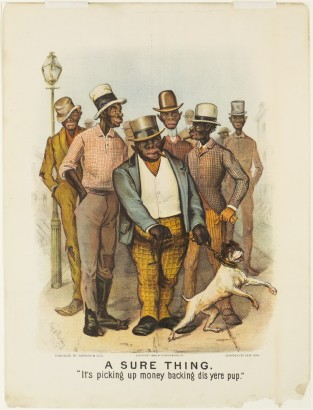"A Sure Thing. ""It's Picking Up Money Backing Dis Yere Pup."", Currier & Ives"
