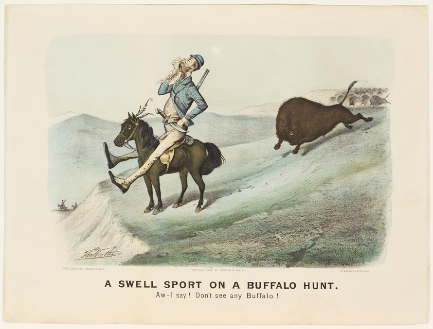 Man astride horse looking down into valley at left in image; buffalo stampeding him from behind at right
