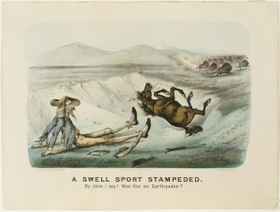 A Swell Sport Stampeded. By Jove-I Say! Was That An Earthquake?, Currier & Ives