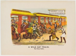 A Wild Cat Train. No Stop Overs, Currier & Ives