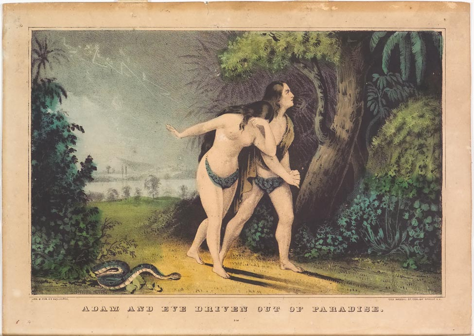 Adam and Eve walking down lane toward viewer