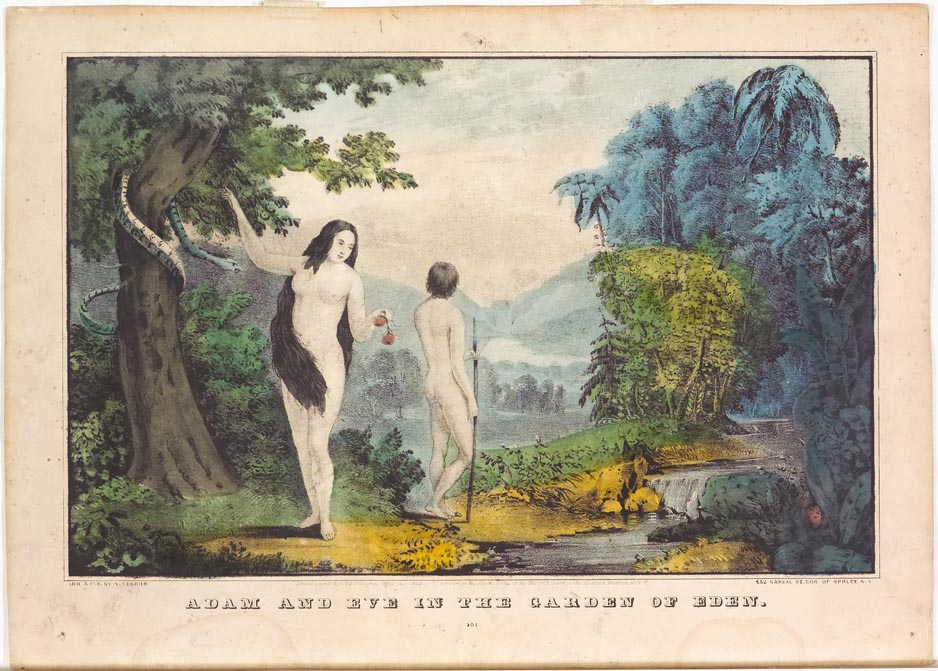 Adam and Eve at center