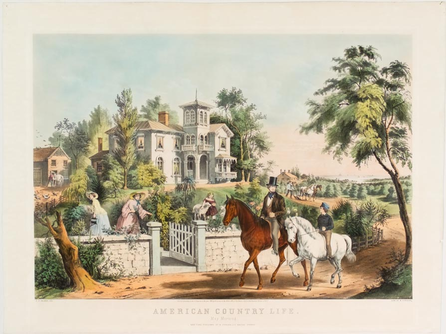 Older and younger man on horseback riding down lane in front of house with gate open to yard and two women and a girl in yard gardening