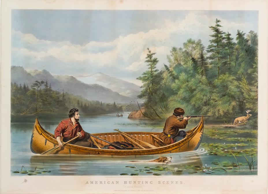 Two hunters in canoe