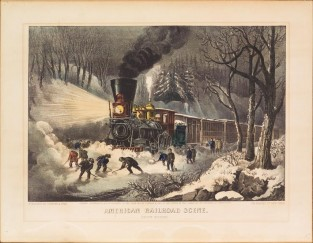 American Railroad Scene. Snow Bound, Currier & Ives
