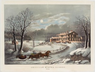 American Winter Scenes. Evening., Nathaniel Currier