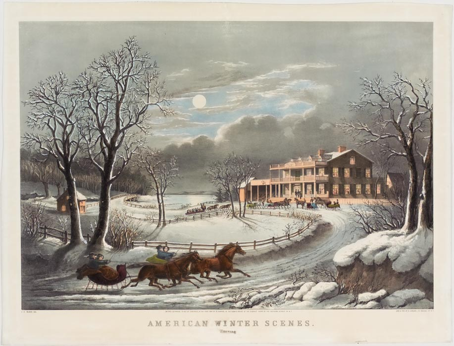 Horse drawn sleighs arriving from lower left to a large residence at end of lane in right background