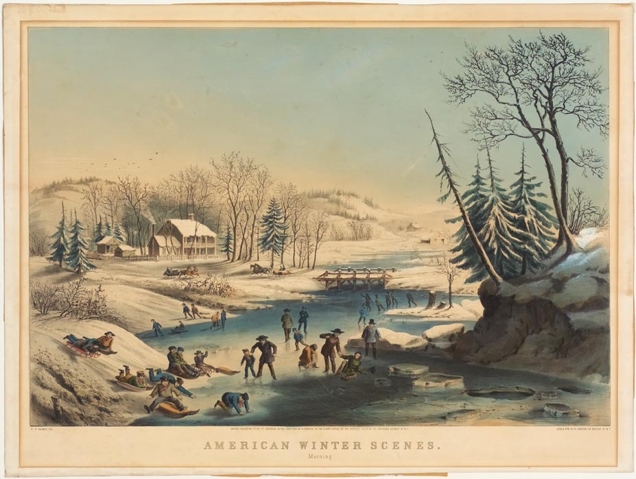 Winter scene of ice skaters on a pond