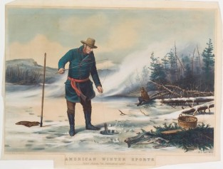 "American Winter Sports: Trout Fishing ""On Chateaugay Lake"", Nathaniel Currier"