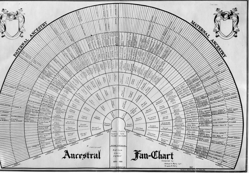 ancestral fan chart perry family tree springfield museums
