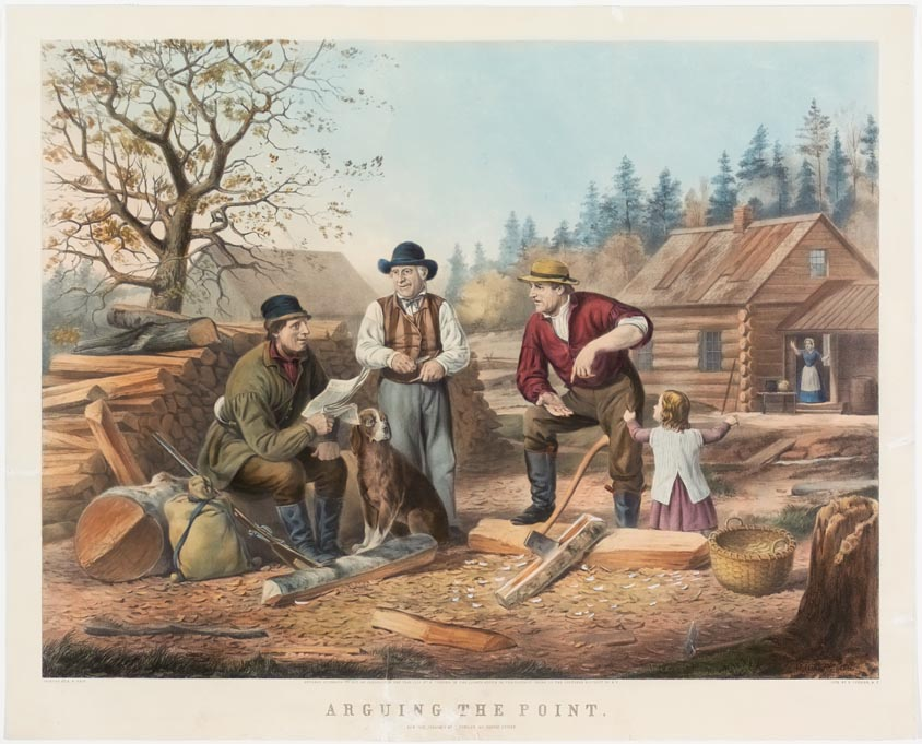 Three men gathered outdoors at firewood pile