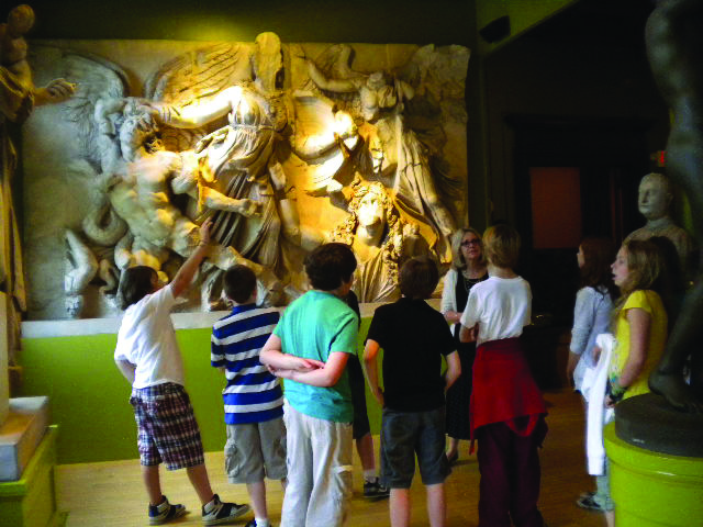 Students with sculptures