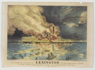 Awful Conflagration Of The Steam Boat Lexington, Nathaniel Currier