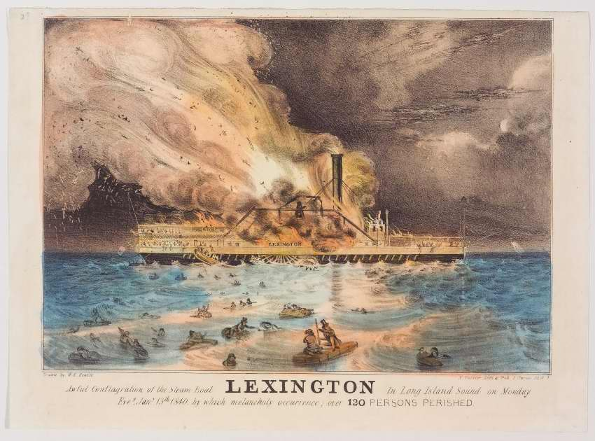 LEXINGTON in center engulfed in flames; people jumping ship into water - others in water on tops of rafts or clinging to debris