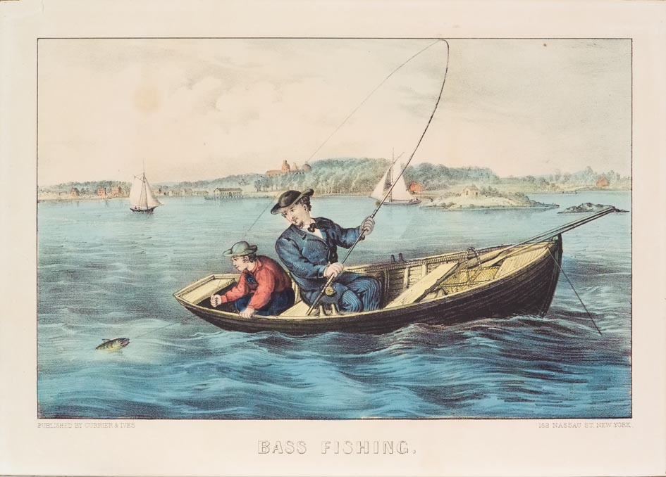 Row boat at center with boy sitting in it on left and man next to him pulling fishing line out of water with fish in tow