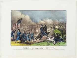 Battle Of Williamsburg VA May 5th 1862. Victorious Charge Of The Gallant Soldiers Of The North And East, Under Genl. McClellan, The Invincible Leader Of The Army Of The Potomac., Currier & Ives
