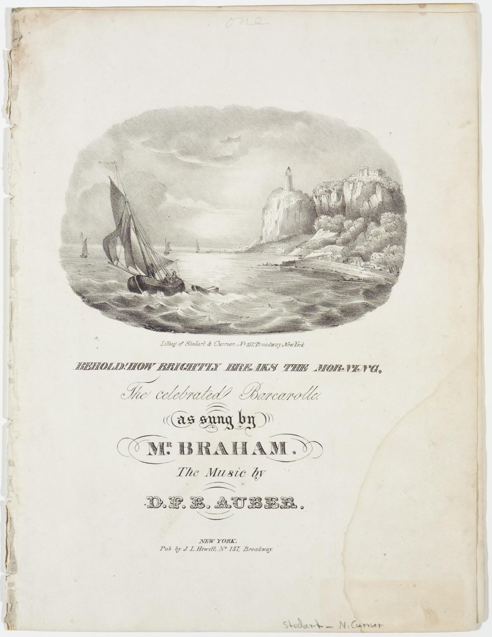 Sheet Music - Oval scene upper center of sail boat in left area pulling row boat; other sailboats behind; cliff a lighthouse to right