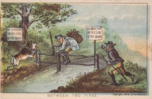 Man with backpack and rifle crossing over fence over brook to side where there is a barking dog and another man carrying pitchfork and approaching from right