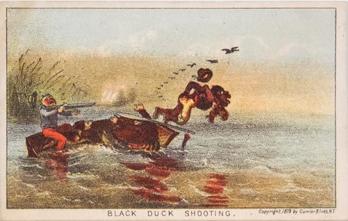 Three men in a boat and a dog; one man jumping out of boat