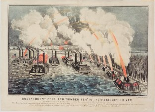 "Bombardment Of Island ""Number Ten"" In The Mississippi River., Currier & Ives"
