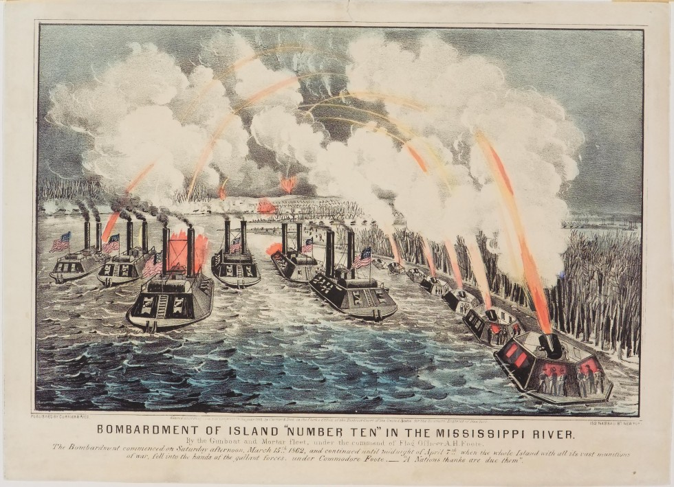 Daytime battle scene - seven large gun boats from left to right in foreground
