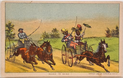 Trade Card:Rider and duo horse team riding at left and couple in buckboard riding at right