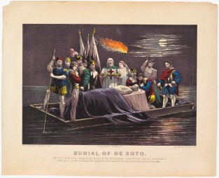 Burial Of DeSoto. DeSoto Died In His Camp On Shores Of Mississippi, Currier & Ives