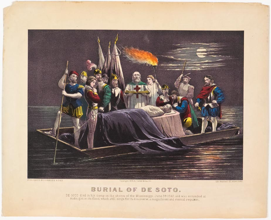 Evening scene of burial at sea