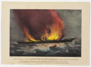 Burning Of The Inman Line Steamship CITY OF MONTREAL On Her Voyage From New York To Liverpool. Aug. 10th 1887, Currier & Ives